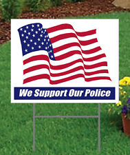 Support Our Police Lg Outdoor Yard Signs 2 sided w/stakes 10 Pack Show Support