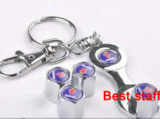 SAAB CHROME STEEL Tyre Wheel Dust Valve Caps Spanner Keyring 9000 9-3 9-5 Aero