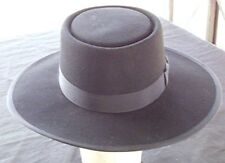 VTG BLACK 100% WOOL FELT FLAT BRIM FLAT CROWN HAT GROGRAIN BRIM TRIM Sz 7