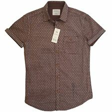 Camicie casual e maglie da uomo marrone aderente in cotone
