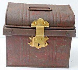 antique TIN BOX JONES BROTHER & CO WOLVERHAMPTON ON BRASS LOCK LOGO BRANDED