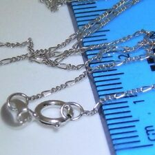 """RHODIUM  STERLING SILVER 925 18 """"  FIGARO CHAIN - Strong & Durable"""