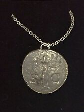 "Roman Coin Claudius WC1 Made From Fine Pewter On 16"" Silver Plated Necklace"