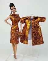 Silkstone Barbie Fashion Royalty Vintage style Dress Outfit Gown Coat FR Purple