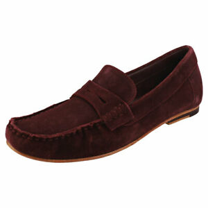 London Brogues Harry Mens Burgundy Suede Loafer Shoes