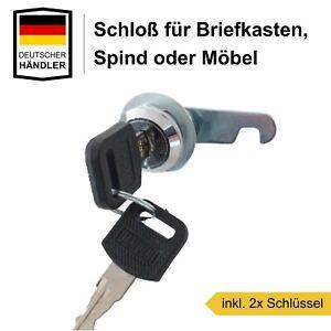 16mm Briefkastenschloß Spind Schrank Möbel Riegel Schloss inkl. 2 Schlüssel