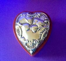 🔥 Vintage 925 Silver ❤️ Heart ❤️ Embossed Leather Trinket Box 🔥