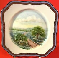 ANTIQUE SQUARE PLATE HAND PAINTED ARTIST SIGNED RARE COUNTRY SCENE TIRSCHENREUTH