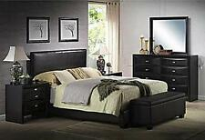 Queen Size Bed Black Faux Leather Headboard Platform Furniture Bedroom Rails NEW