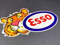 "VINTAGE ESSO TIGER GASOLINE DIE-CUT METAL ADVERTISING 12"" GAS & OIL DISPLAY SIGN"