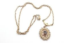 Vintage LONG Necklace FILIGREE Openwork SCROLL SMOKY QUARTZ Pendant Gold Tone