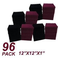 96Pcs1x12x12black/burgundy Acoustic Panels Studio Soundproofing Foam Wedge tiles