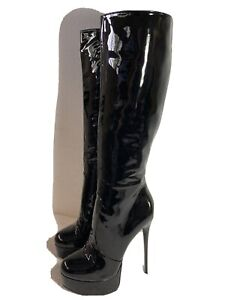 MENS NEW GIARO KNEE HIGH  BLACK PATENT LEATHER BOOTS SIZE US 11  EUR 44