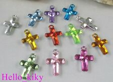 200 pcs Mixed colour cross Acrylic charms 21X14mm M1772