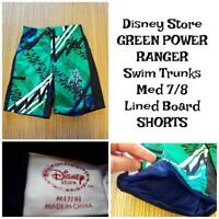 "DISNEY Power Rangers Lined BOARD SHORTS Boys Size 7/8 (24-26"") SWIM TRUNKS"