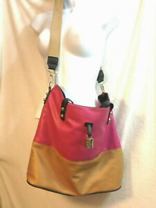 Jessica Simpson Cross Body Lrg Bag Tote Faux Leather HOT Pink/Tan MSRP $118 euc
