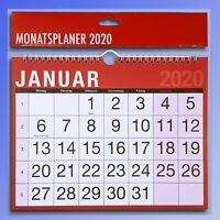 Monatskalender 2020 Wandkalender 1Seite=1Monat Abreißkalender Spiralbindung