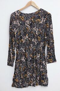 Gorgeous H&M Fit and Flare Black / Yellow Floral Dress size UK 12