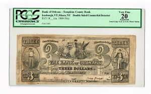 IRASBURGH, VT. SUPER RARE  DOUBLE SIDED COUNTERFEIT NOTE DETECTOR   PCGS 20