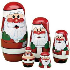 Santa Nesting Dolls Set Of 5 Wooden Dolls Winter Christmas New