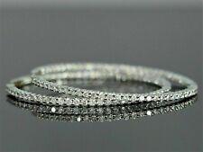 Certified 3.00Ct Inside-Out Diamond Hoop Dangle Earrings In Solid 14k White Gold