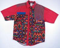 Vintage 90s Major Damage Tribal Abstract Geometric Short Sleeve Shirt Hip Hop L