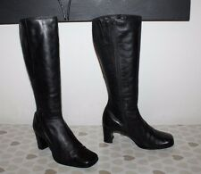 Black Leather JANET. D Zip Square Toe Mid Calf Mid Heel Riding Boots Size 6 / 39