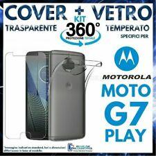 CUSTODIA COVER TRASPARENTE + PELLICOLA VETRO TEMPERATO Per MOTOROLA MOTO G7 PLAY