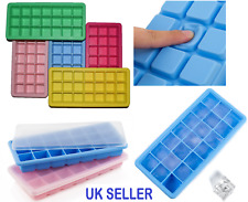 Silicone 21 Cavity Ice Cube Tray w Lid Mold Square Mould Baby Food Store Freezer