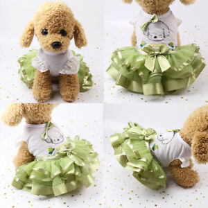 Fashion Printed Pet Dog Cute Princess Lace Bow Skirt Clothes Puppy Tutu Dress