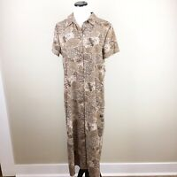 Vintage 90's Buttoned Down Collared Animal Print Tiger  Dress Size L Large