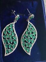 Green Emerald Chandelier Leaf Earrings 925 Sterling Silver Wedding /Evening Wear