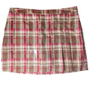 Izod Golf Skort Athletic Skirt Plaid Pleated w/Pocket & Side Zipper 16