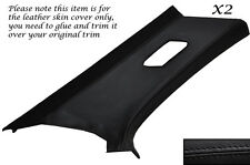 BLACK STITCH 2X REAR C PILLAR LEATHER COVERS FITS BMW 3 SERIES E46 COUPE 98-05