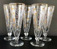 Vintage MCM Cocktail Glasses Footed Glass Tumblers  Libbey Royal Fern Set Of 5
