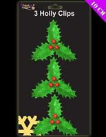 6 x Christmas glitter Holly clip on decorations for trees floristry crafts etc