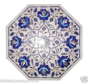1'x1' White Marble Marquetry Coffee Table Top Lapis Lazuli Inlay Furniture Decor
