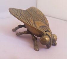 "Vintage Solid Brass Fly Hinged Lid Match Holder Ashtray Trinket Insect 2""x3"""