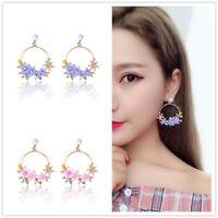 Korean Women Crystal Flower Ear Stud Dangle Drop Hoop Earrings Jewelry Lovely