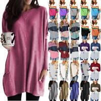 Womens Oversized Long Sleeve Sweatshirt Pullover Loose Blouse T Shirt Jumper Top