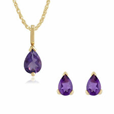 Gemondo 9ct Yellow Gold Amethyst Pear Stud Earring & 45cm Necklace Set