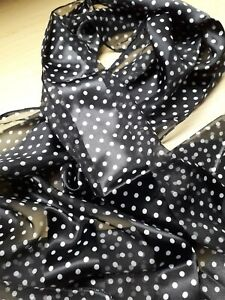BNWT   Black/White or Navy/White Polka Dot Satin/Chiffon Scarves-155 x 35cm