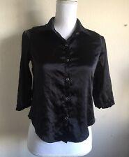 brandy melville black silky 3/4 sleeves button down shirt sz S
