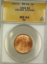 1942 Iceland 5A Five Aurar Copper ANACS MS-64 RB Red-Brown (Better Coin) (D)