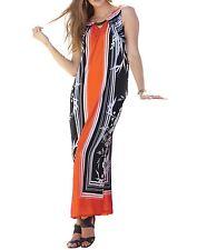 Roaman's Plus Size Red Orange Print Sleeveless Long Dress Size L(18/20)