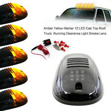 5x 12V LED Cab Roof Marker Lights Smoke Cover For 99-02 Dodge RAM 2500 3500
