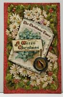 The Christmas Times Beautiful Embossed Daisies & Hollyberry Postcard G2