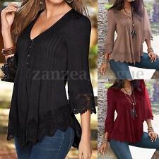AU Women Autumn V Neck Lace Crochet Floral Sleeve Tops Casual T-Shirt Blouse Tee