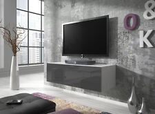 Floating TV Unit Cabinet Stand Rocco 100 cm Body Matte White / Door Gloss Grey