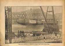 Sous-Marin Submarine U-Boat Holland 9 Port New-York USA WWI 1917 ILLUSTRATION